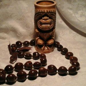 Vintage Hawaiian Souvenir Tiki Mug and Kukui Lei